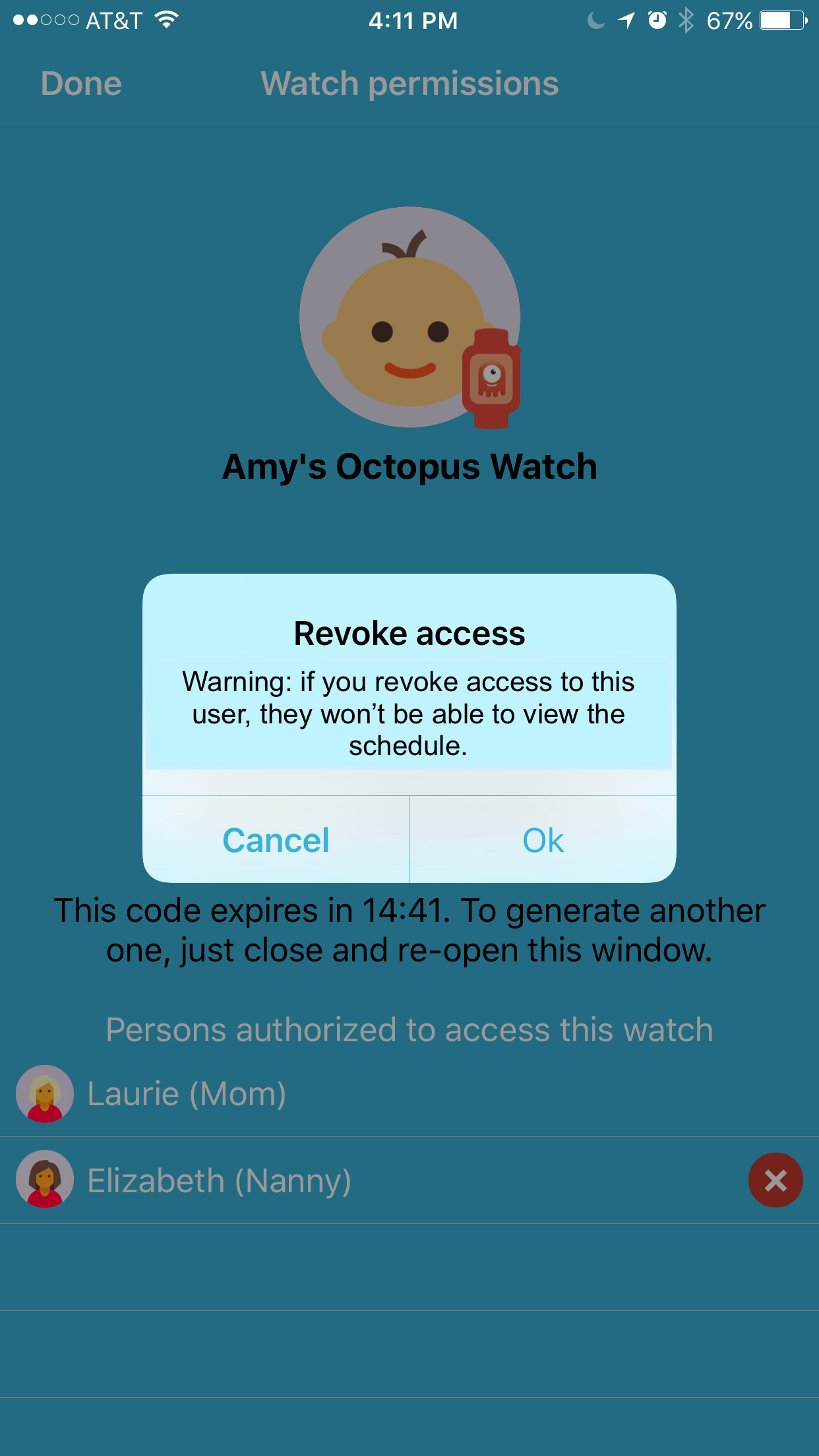 Octopus watch app: confirm the revocation access