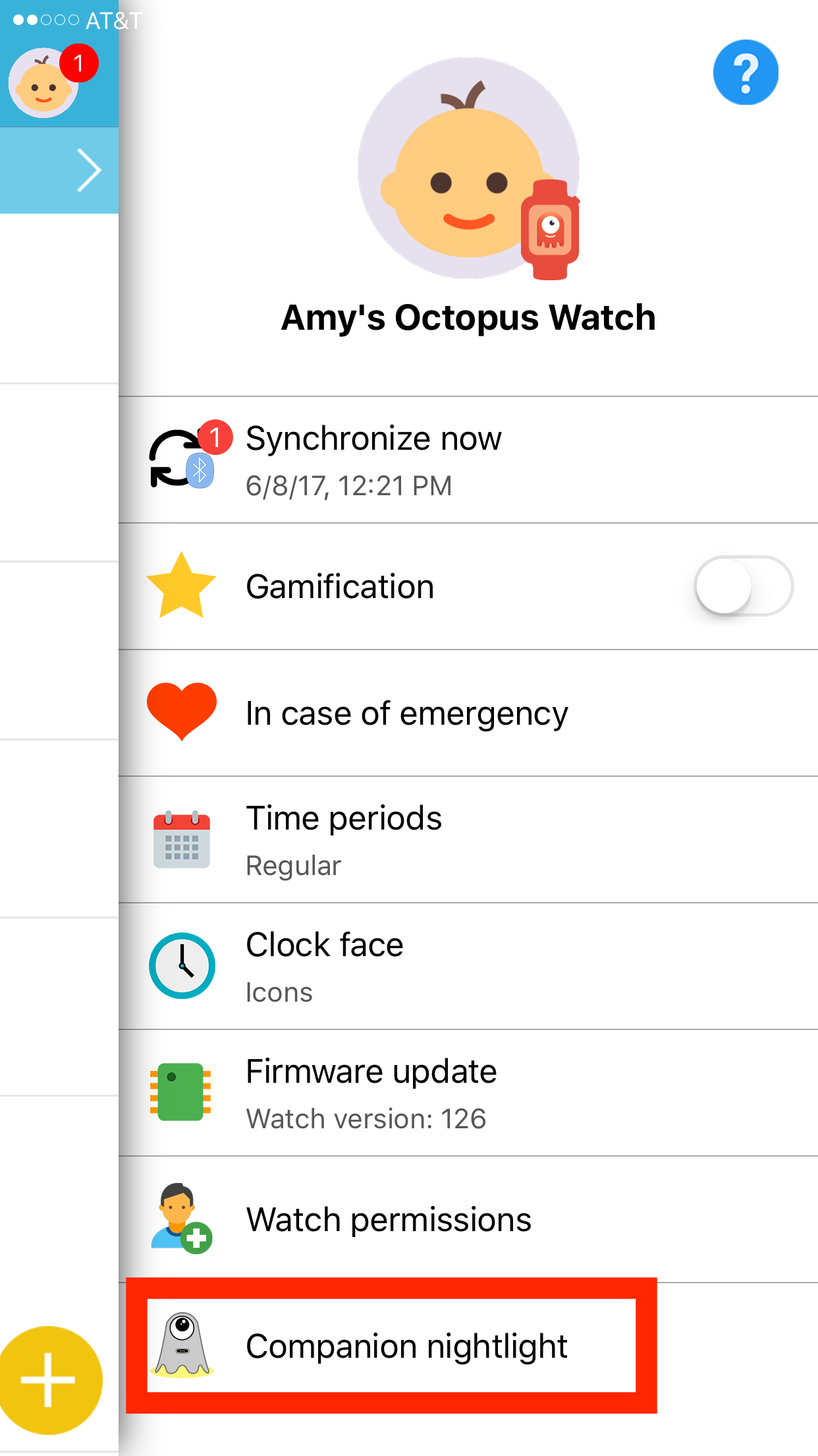 Octopus Watch app: select programmable companion nightlight