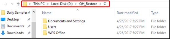 How to restore data from Quick Heal's backup folder in case