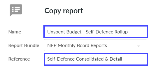 Add name for copied report