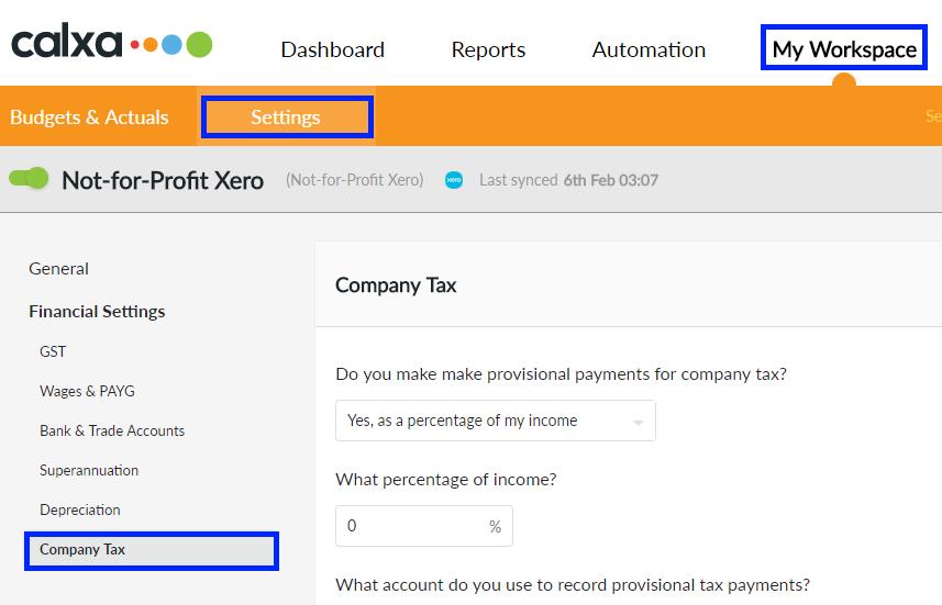 Company Tax Settings