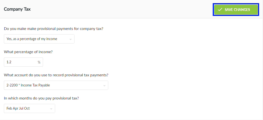 Save Company Tax Settings