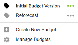 Budget Versions
