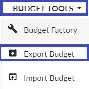 Budget Tools - Export Budget