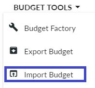 Budget Tools - Import Budget