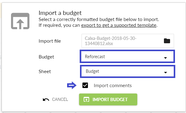 Import budget screen