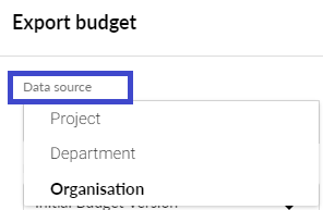 Select business unit type to export