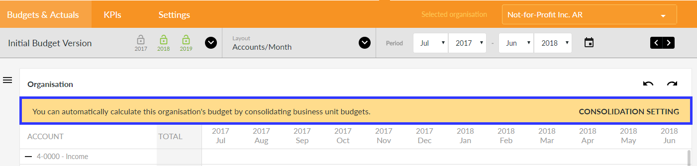 Organisation Budget Consolidation Setting