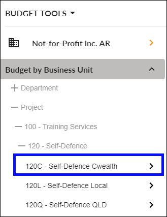 Select Business Unit Budget