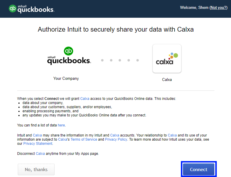 Authorise QuickBooks connection