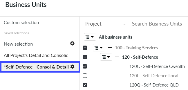 Saved Business Unit Selection to Edit