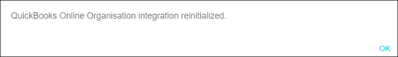 QuickBooks Online integration reinitialized