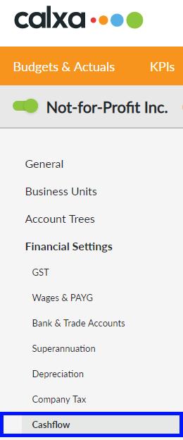 Select the Cashflow menu