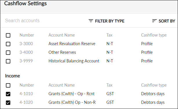 Select accounts to edit cashflow settings on