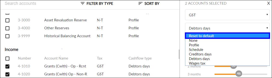 Restore Default Cashflow Type