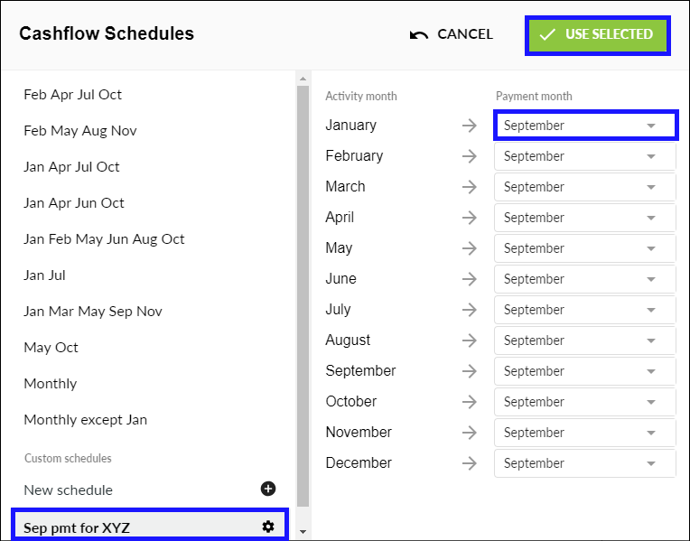 Edit a cashflow schedule