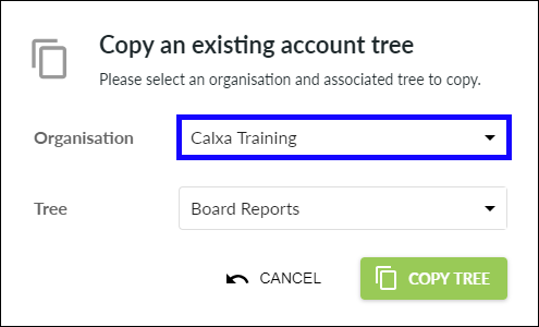 Select organisation to copy tree from