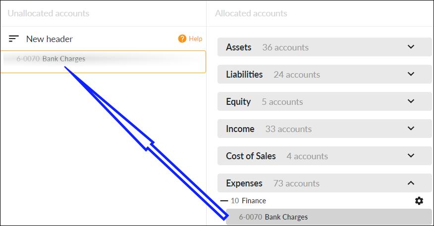 Move accounts to unallocated accounts column