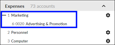 Detail account allocated to a header