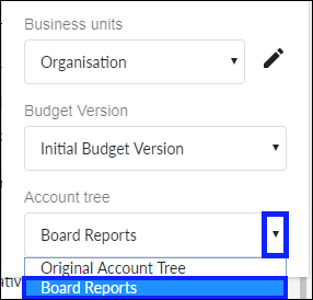 Select account tree for report