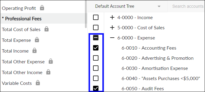 Select desired accounts