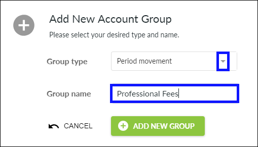 Add New Account Group pop-up