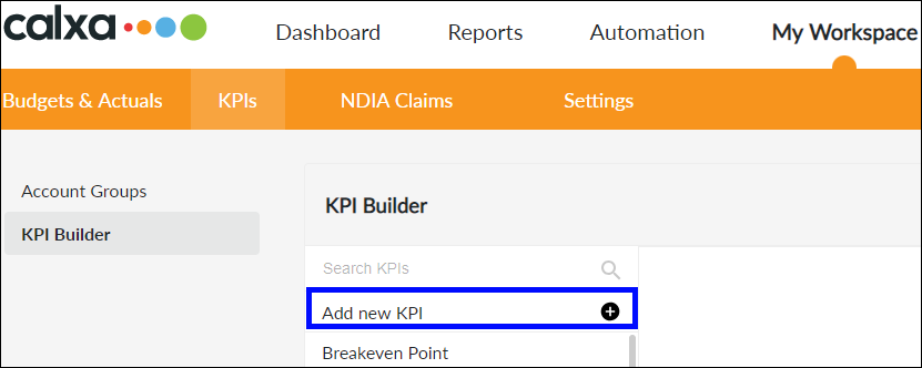 Click Add new KPI