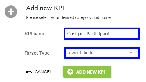 Add new KPI pop-up box