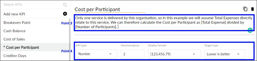 Add KPI description and set KPI type and number format