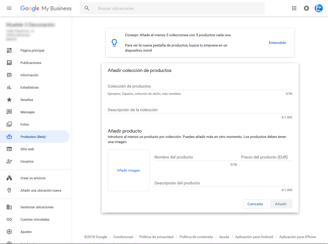 """Pantallazo de la nueva opción """"Productos BETA"""" en las fichas de Google Maps"""