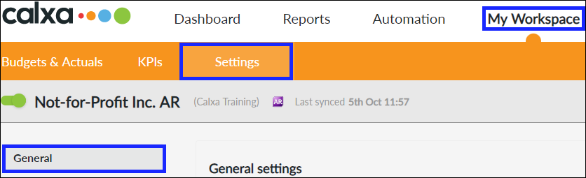 Navigate to General Settings