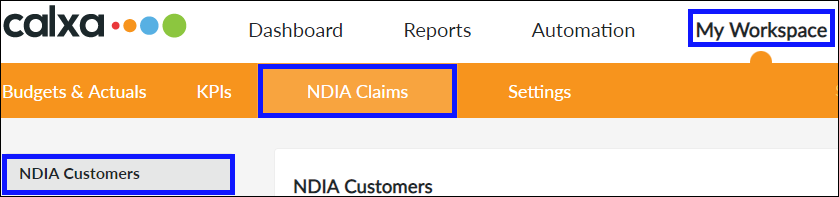 Navigate to NDIA Customers screen