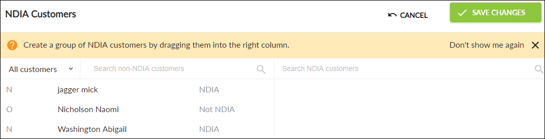 NDIA Customers screen overview