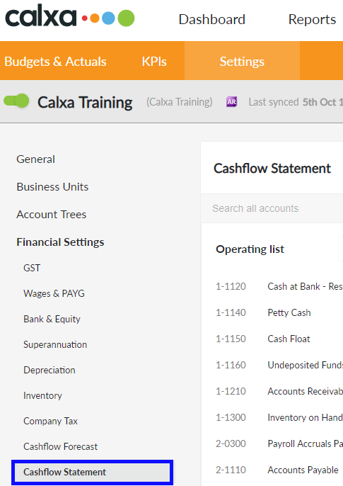 Click on the Cashflow Statement menu