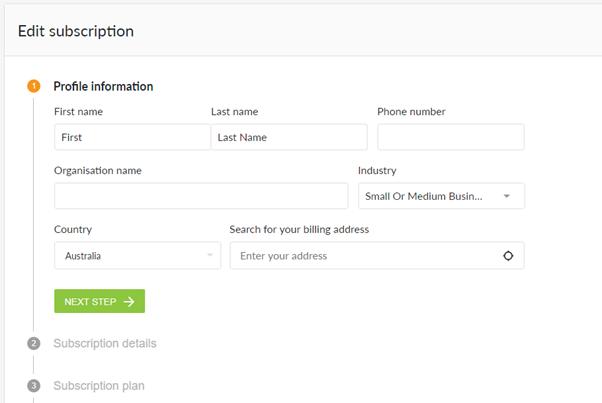 Edit subscription profile