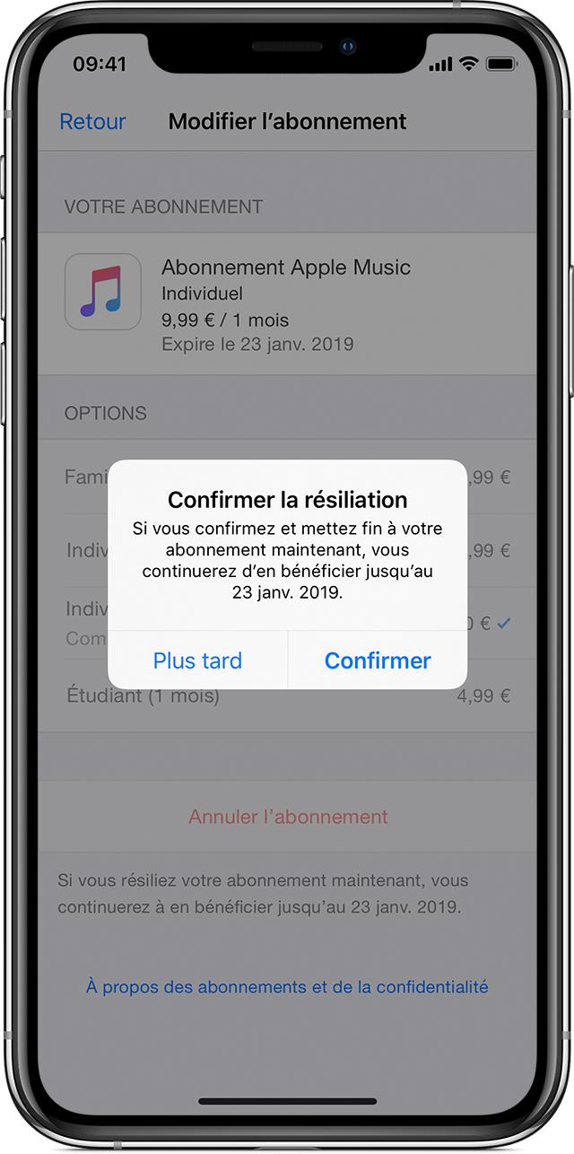 iPhoneX affichant un abonnement à AppleMusic. Une fenêtre de confirmation de résiliation de l'abonnement est affichée au premier plan.