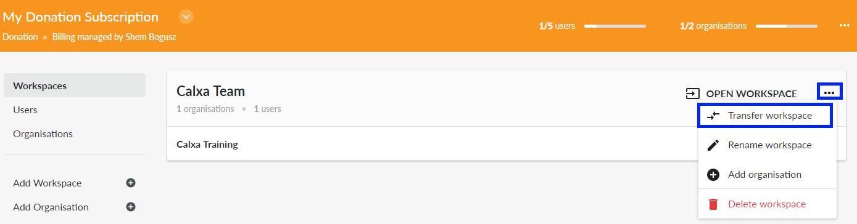 Transfer Workspace menu option