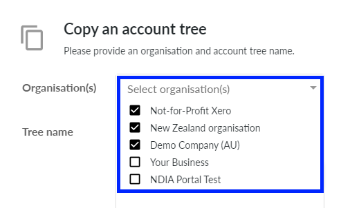 Select organisations to copy to