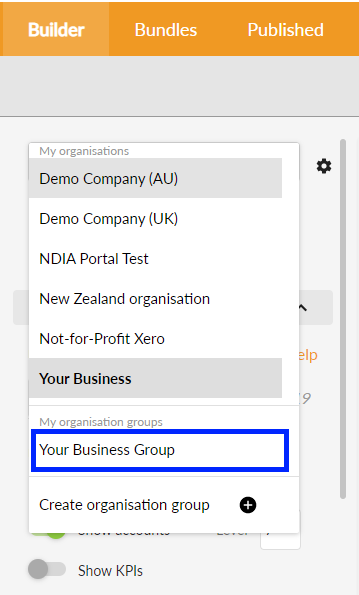Select organisation group