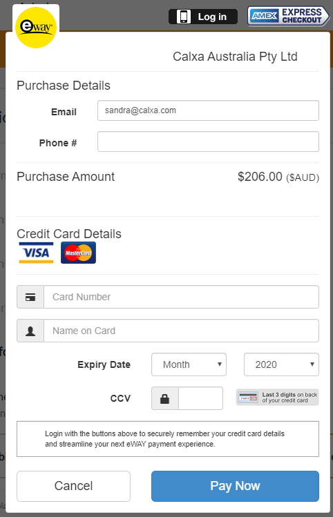 eWay payment window