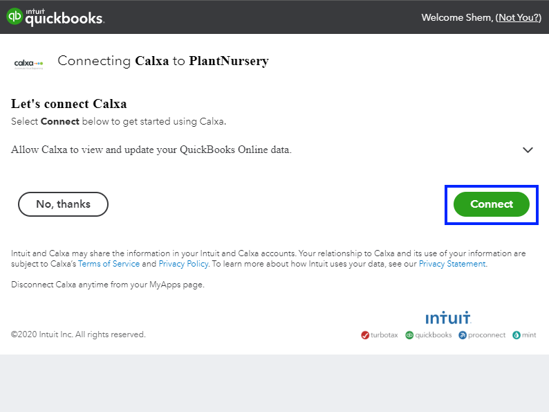 Connect Calxa to QuickBooks