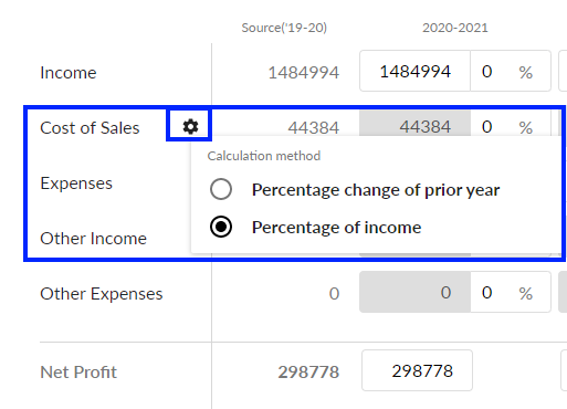 Percentage of income option