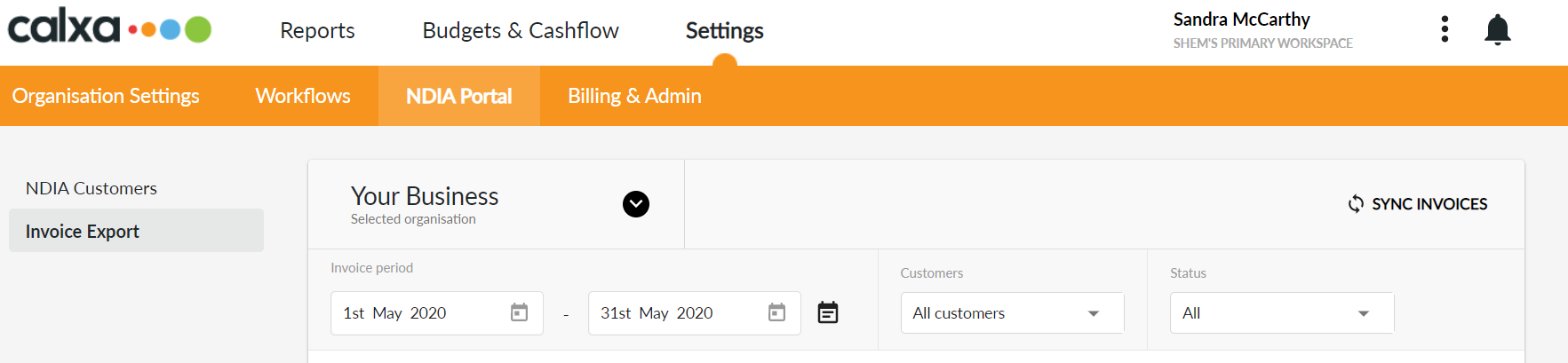 Navigation to Invoice Export screen