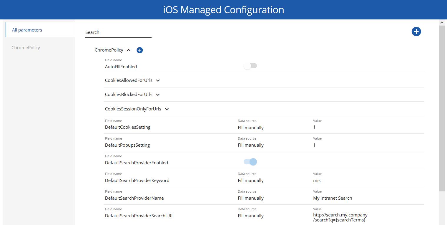iOS managed configuration
