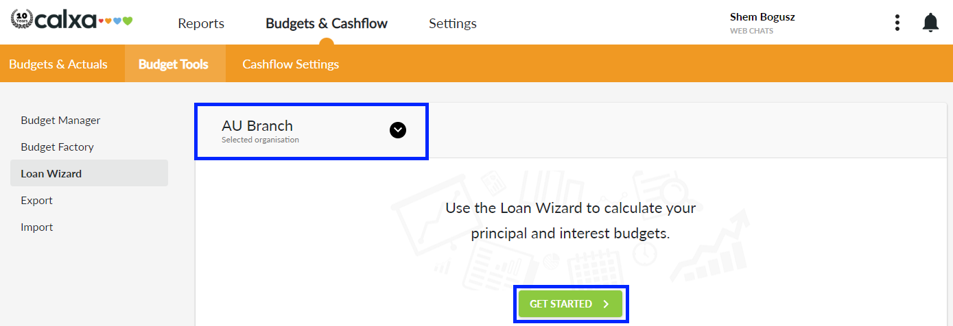 Loan Wizard Menu