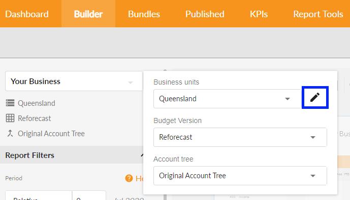 Edit Business unit selections