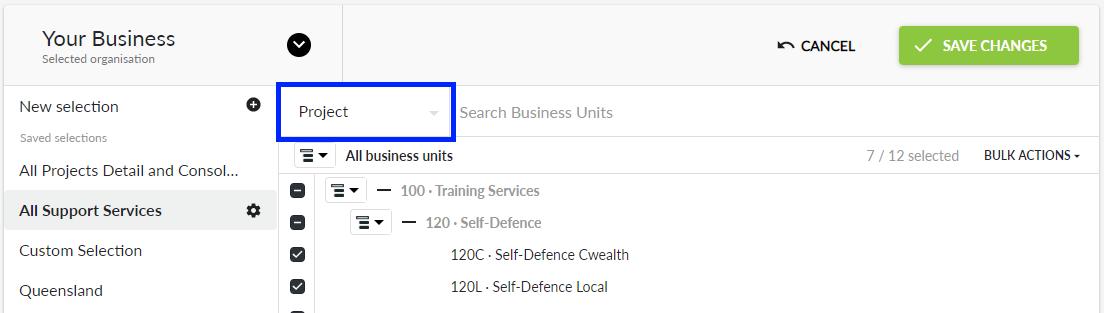 Business Unit category