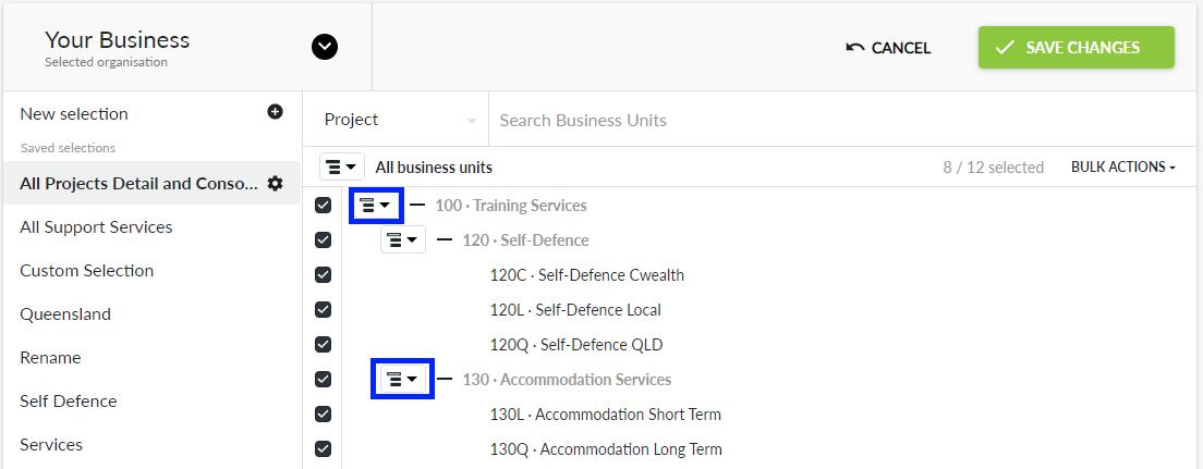 Consolidate header business units