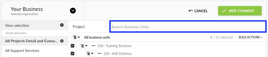 Search Business Units