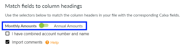 Monthly amounts toggle